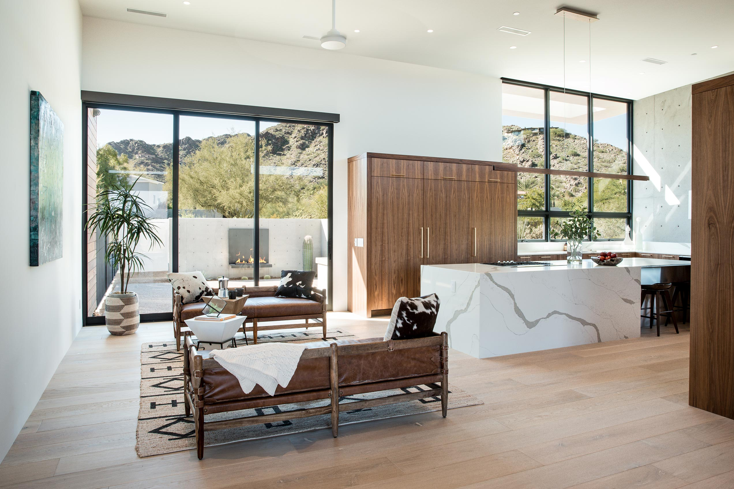 Moving glass walls and windows provide panoramic views of the Sonoran Desert.
